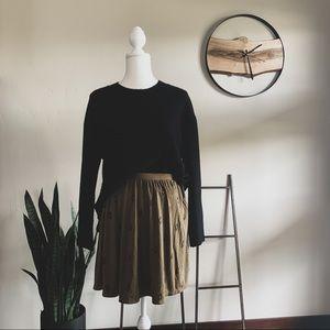 Printed Army Green Skirt